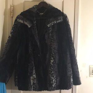 Dennis Basso faux fur coat size Large